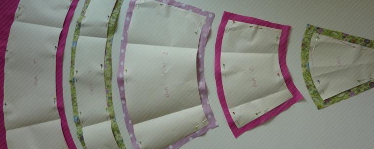 Papier auf Stoffe mit 1,5 cm Zugabe.