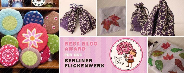 Knopf beziehen, Best Blog Award, Blätterdruck, Kellerfaltenbeutel